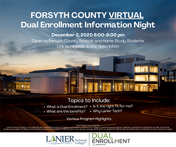 Virtual Dual Enrollment Informational Night for students attending Forsyth County schools or home study programs