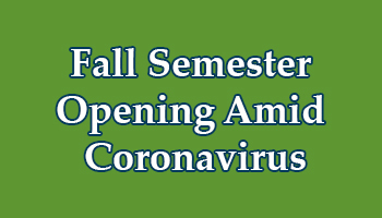 Fall Opening Amid Coronavirus